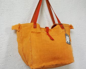 Yellow orange linen /anses leather tote bag
