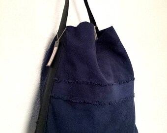 /Anses blue cotton canvas tote bag leather