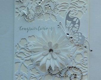 Handmade Wedding Card, Anniversary Card, Elegant Card, White and Beigsh Card