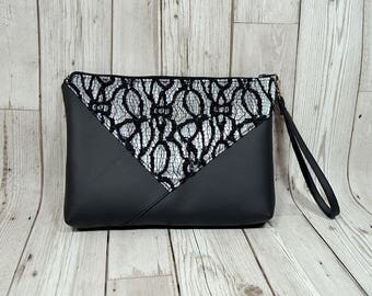 Lace evening bag, Elegant lady clutch for her, Small zipper handbag, Christmas party clutch, Christmas gift women, Elegant clutch gift women