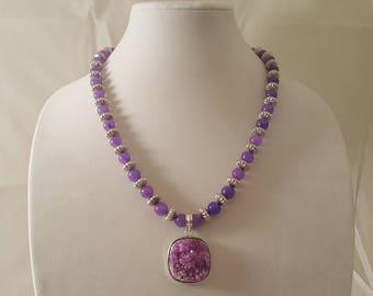 Purple Druzy Stone Pendant Necklace - Purple Necklace - Druzy Necklace - Stone Necklace - Silver Necklace - Purple - Silver - Pendant -Stone