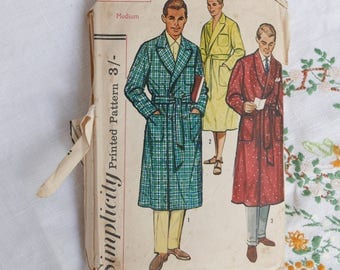Vintage men's robe and beach robe pattern, Simplicity 1758, size medium, 38-40 inch chest, 1956