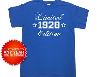 90th Birthday T Shirt Bday Gift Ideas For Him Custom Birthday Present For Her Personalized B Day TShirt 1928 Birthday Mens Ladies Tee -SA958