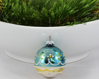 Vintage Shiny Brite Ball Christmas Ornament With Mica Design, Blue Ornament With White And Yellow Mica