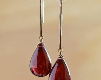 Large Rhodolite Garnet Earrings, Red Natural Garnet drop, January Birthstone Gemstone Jewelry in 14K Rose Gold Filled Sterling Silver