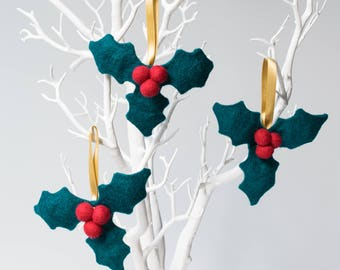 Felt Holly Christmas Ornaments - set of three handmade merino wool felt tree decorations