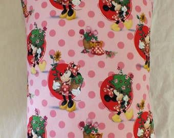 Travel or Toddler Envelope Style Pinks and Reds Minnie Mouse Pillowcase 12 x 16