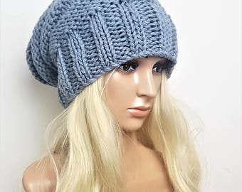 Gray knit slouchy hat woman, Knit slouch beanie hat, Chunky knit beanie slouchy, Grey beanie, Slouchy beanie women wool hat, Slouch hat.