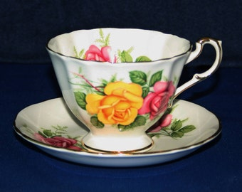 Vintage Paragon Pink & Yellow Rose Teacup and Saucer Royal Appointment To Her Majesty the Queen Elizabeth English Tea Cup 1940's Bone China