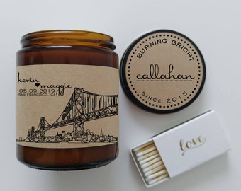 City Skyline Wedding Gift Personalized Candle Custom Present Bride To Be Soy