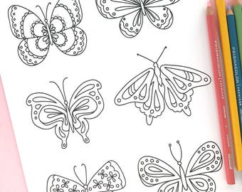 Printable BUTTERFlIES Coloring Page- Digital File- Instant Download doodles, butterfly