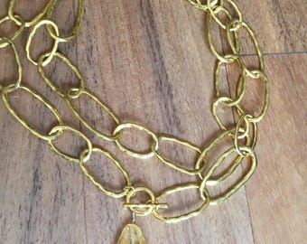 Gold Chain with Toggle and Citrine Drop