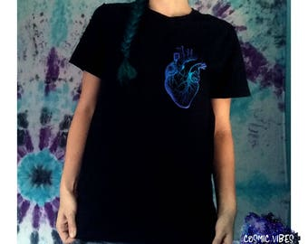 Watercolor Heart Short Sleeve Unisex T-Shirt - Anatomical Heart Cotton Jersey Knit Tee Shirt - Gift Idea For Him or Her