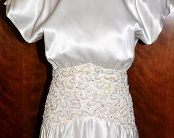 Vintage Ivory Satin, Drop Waist Sequin, and Rhinestone, Wedding Gown, Ivory Bridal Gown, Ivory Wedding Gown, 2nd Wedding, Satin Bride Gown