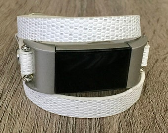 Vegan White Leather Bracelet for Fitbit Charge 2 Fitness Activity Tracker Handmade Multi Wrap Adjustable Fitbit Charge 2 Band