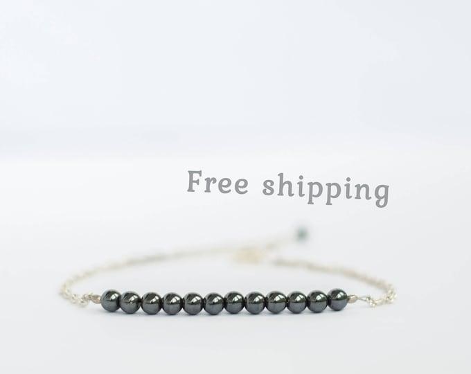 Hematite bracelet, Hematite jewelry, Minimalist bracelet for women, Gemstone bracelet, Minimalist jewelry, Delicate bracelet for women