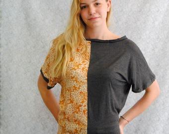 "T-shirt ""Testa"" reversible grey jersey and viscose with orange flower pattern"