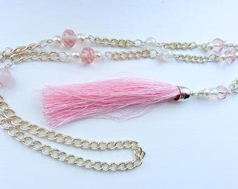 Tassel Necklace Silver & Pink
