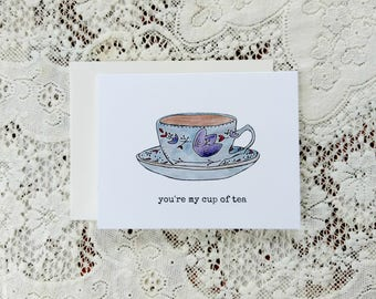 My Cup of Tea / Funny Valentine's Card / Friend Valentine Card / Funny Love Card / Love Puns / Puns / Gift for Her / Card for Wife