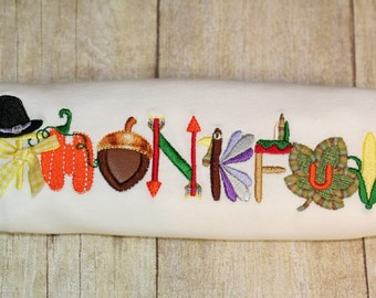 Thanksgiving Thankful Applique Embroidery Design Instant Download - 0341