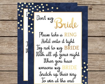 Don't Say Bride Instant Download Bridal Shower Games Navy and Gold Bridal Shower Shimmery Gold Polka Dots
