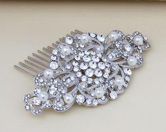 Bridal Hair Comb, Pearl Crystal Hair Comb, Wedding Hair Comb, Wedding Hair Accessories, Bridal Hair Piece, Bridal Headpiece, Art Deco Silver