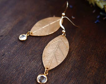 "Earrings Leaf ""Marquise Mirabelle"" / Bronze clay & Gold Filled / Swarovski crystal / Art Clay / Metal Clay / Nature chic"