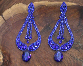 extra long blue rhinestone earrings, oversized pageant/prom red rhinestone earrings, extra long rhinestone earrings, chandelier earrings