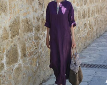JEFF aubergine Women's contemporary  pure linen caftan. Softened fabric. Front pocket Tunic