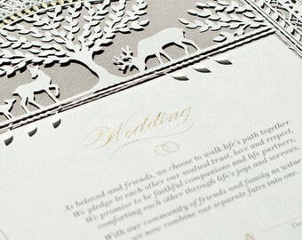 DEER PARADISE romantic paper-cut Marriage Certificate | wedding vows | wedding gift
