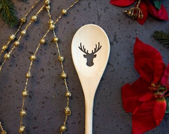 Wood Spoon Christmas Deer - Holiday, carved, wooden spoon, kitchen spoon, strainer, handmade, housewarming gift, cookware, Cooking Utensil