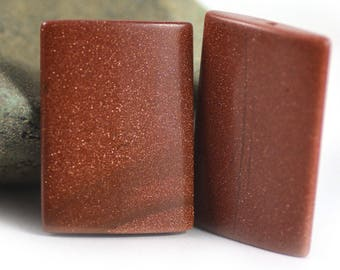 Goldstone Glass Rusty Copper Brown Golden Specks Rectangle Bead Set of Two (2) - 25x35mm
