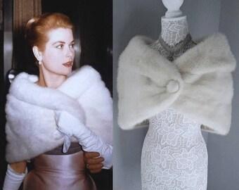 Luxury Vintage CREAM Mink Stole - Ivory Blonde Fur Stole Cape Shrug Wrap Shawl Caplet Bolero -  Luxury Bridal  Winter Wedding Fur