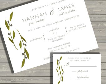 Simple Grey & Greenery Wedding Invitation Set - PRINTABLE - Digital Files