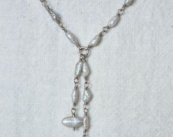 Pearl on Chain Y Necklace