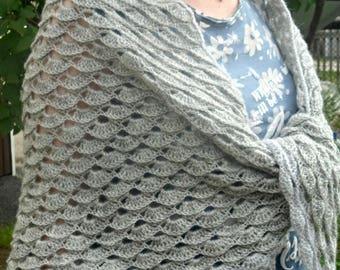 Crochet wrap shawl, Wool Shawl, Handmade Shawl, Gray Shawl, Knit shawl, Chunky Shawl, Cozy shawl, gift for her