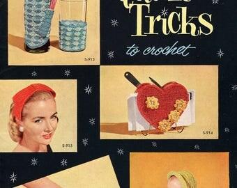 FREE SHIP Coats & Clark Book 326 Quick Tricks 1956 Crochet Soda Bottle Straw Coasters Hats slipper Sandals Dolls Snood Gloves Pillow Clean