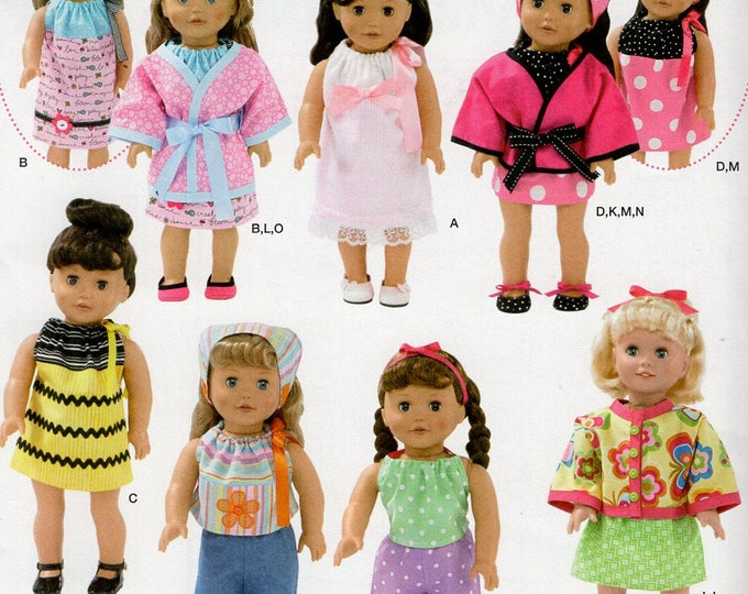 """Free Us Ship Simplicity 2302 Out of Print 18"""" Doll Clothes Wardrobe New Sewing Pattern Uncut Fits American Girl Doll"""