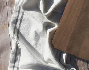 Grainsack Inspired Soft White Cotton Table Runner - Double Sided - Farmhouse