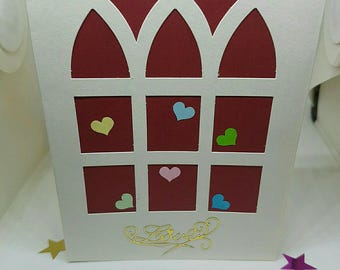 Card heart love you + envelope