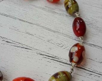 Autumn Spotty Bracelet - Sterling Silver Bracelet - Gifts for Her - Lampwork Glass - Spotty Bracelet - Bracelet - UK - Jewelry - Polka Dots