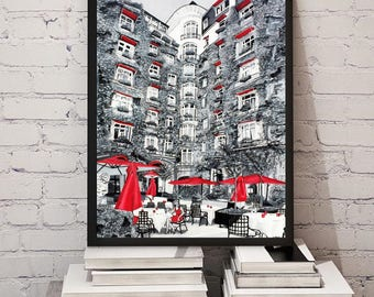 Paris Art Contemporary Painting Abstract | 8X10 | Acrylic Painting | Eiffel Tower | Custom Painting | Black and White | Office Art