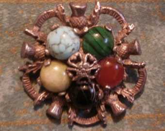 Miracle Scottish signed stone brooch