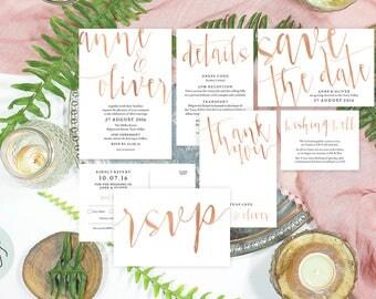 Rose gold wedding invitation, Rose gold invitation, Printable wedding stationery, Copper wedding invitation, Rose gold save the date cards