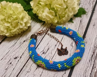 Oriental pattern blue light green pink paisley pattern bracelet spiral rope seed bead jewelry beaded bracelet beadweaving bead beaded spiral