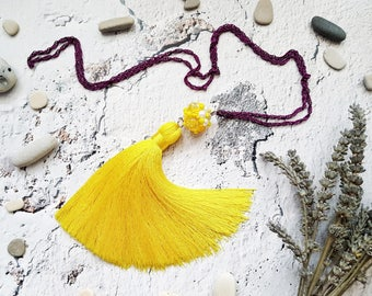 Colorful yellow tassel necklace Long necklace yellow textile tassel purple chain glass beads seed beads beaded jewelry seed beads pendant