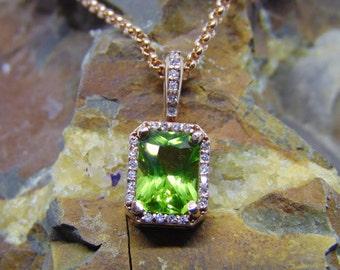 Arizona peridot emerald radiant 14 karat gold diamond accented pendant chain available in rose yellow or white gold the diamonds are vs2 fg