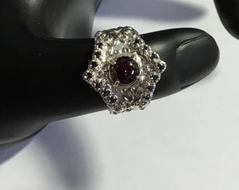 Vintage Rhodolite Garnet and Sapphire Sterling Silver Ring Size 9.5