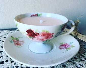 Acai Blossoms Antique Teacup Soy Candle