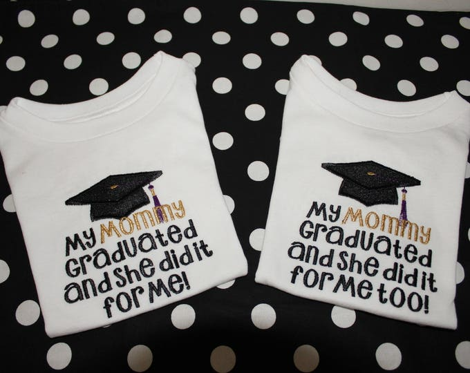 Twins graduation shirts, Mommy graduating,Daddy graduating,Black and Gold, Graduation cap, Graduation shirt for twins,Graduation bodysuit